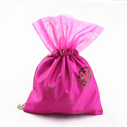 Wholesale Silk Organza Gift Bags - Sequin Patchwork Organza Large Party Gift Bags Drawstring Silk cloth Candy Chocolate lavender Storage Pouch for Festive Christmas Birthday