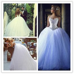 Wholesale Sweetheart Strapless Sparkling Wedding Dress - Luxury Design Sparkling Ball Gown Princess Wedding Dresses Sweetheart Crystals Beaded Tulle Court Train Bridal Gowns Custom