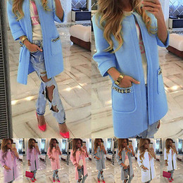Wholesale Trench New Fashion - 2016 New Brand Women's Long Sleeve Knitted Cardigan Loose Sweater Outwear Coat lady fashion Winter Trench 5 Colors