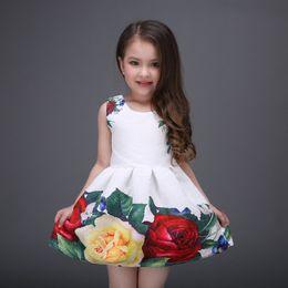 Wholesale Upscale Vest - Girls party dresses mitun2016 spring and summer girls print sleeveless vest dress dress upscale princess tutu