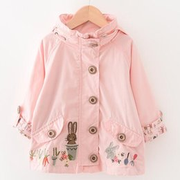 Wholesale Cute Casual Dresses For Winter - Baby Girls Winter Fashion Cute Rabbit Flower Korean Girl Dress Children Trench coats Hoodie Outfits for 2-9Y Pink Jacket Kids Clothing
