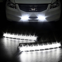 Wholesale Universal Led Drl Lights - 8 LED Super Bright White DRL Car Daytime Running Light Head Lamp Universal IP67 Waterproof Day Lights 1 pair
