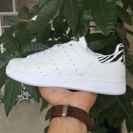 Wholesale Wedding Dress Size 36 - New arrive zebra stripes Stan Shoes For Men And Women Fashion Sneakers Casual Sport Leather Lovers Smith Shoes Zapatos Mujer big size 36-44