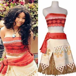 Wholesale Dresses For Mother Kids - Mother And Daughter Clothes Moana Dress Clothing Set For Kid Princess Fancy Costume Skirt For Cosplay