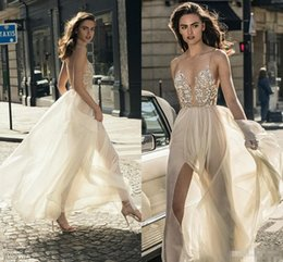 Wholesale Sweetheart Neckline Tulle Wedding Dress - Sexy Middle Split Tulle Skirt Wedding Dresses 2018 Liz Martinez Spaghetti Deep Plunging Sweetheart Neckline Beach Holiday Bridal Gowns