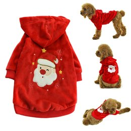 Wholesale Santa Christmas Pet Costumes Wholesale - Accept custom LOGO Winter Dog Cat Pet Clothes Christmas Pet Dog Clothes Santa Claus Costume Outwear Coat Hoodie dog coats jackets winter