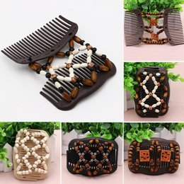 Wholesale Hair Comb Bead Styles - 8 Pcs lot Brand New Wood Beads Double Hair Comb Clip 4 Styles to Choose From Free Shipping[GE05141*8]