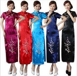 Wholesale Sexy Cheongsam Skirts - Sexy Chinese Embroidery Silk Satin Women's Dress Cheongsam Qipao Coat Skirt evening dress Bridal gown size S-3XL