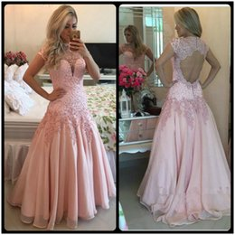 Wholesale Backless Tops Open Back - High Neck Cap Sleeves Pink Prom Dresses 2017 Sexy Open Back Sheer Top Lace Applique Long Evening Dress vestidos de fiesta