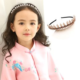 Wholesale Diamante Hair Accessories - Fashion Wholesale diamante pearl Girls Hair Sticks sweet princess Childrens head band pretty baby Hair Things kids Hair Accessories A1418