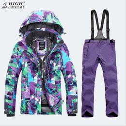 Wholesale Snowboard Jackets Pants - Wholesale- 2018 High Experience Women Ski Suit Snowboard Suit Skiing Jacket Pant Thermal Thicken Waterproof Windproof Sport Wear Female Set