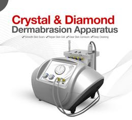 Microdermoabrasion de cristal de diamante online-Popular calidad 2 en 1 cristal microdermabrasión piel y diamante dermoabrasión facial cuidado de la piel equipo de spa eliminar las manchas de arrugas