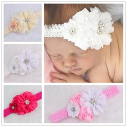 Wholesale Wholesale Vintage Accessories Cheap - Baby Girls Kids Lovely Pierced Hair Bands Vintage Flowers Hair Accessories Pretty Headbands Infant Headband 10 Colors Cheap