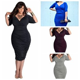 Wholesale Sexy Plus Clubwear - 2016 Hot Sell Plus Size Women Sexy Dress Deep V Bodycon Girl Fat Solid Color Package Hip Fold Dresses Party Big size Clubwear