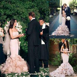 Wholesale Black Ruffle Corset - 2017 New Romantic Custom Made Blush Pink Corset Wedding Dresses Full Length Cascading Ruffles Bow Organza Bridal Dresses Boho Formal Gowns