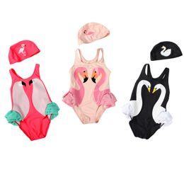 Wholesale Swim Cap Baby - 2017 ins Black swan Flamingo Bird baby girl baby conjoined swimming suit black swan flamingo parrot children swimming suit with cap