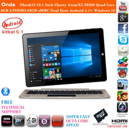 Wholesale Dual Core 4gb Laptop - Wholesale-Hot Onda Obook10 10.1 Inch Cherry AtomX5 Z8300 Quad Core Tablet PC Laptop 4GB LPDDR3 64GB eMMC dual boot Android 5.1+ windows 10