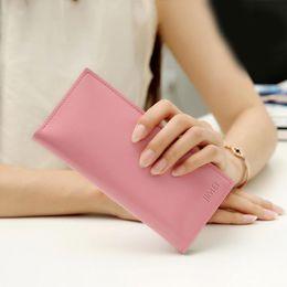 Wholesale Thin Korean Girls - New Wallet Ladies Long Women Korean Original Ultra-Thin Card Purses Wallets Clutch Mini Bags Girl Cartoon Cute Women Totes