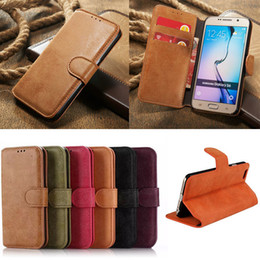 Wholesale Galaxy S Battery Case - For Samsung Galaxy S6 Edge Leather Case Note E J S A 3 4 5 7 8 retro Flip Stand Wallet Leather Case