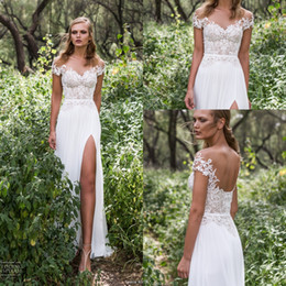 Wholesale White Split Front Wedding Dresses - 2017 Sexy Front Split Chiffon Bohemia Long Wedding Dresses Lace Appliques pearls Off The Shoulder Court Train Bridal Dresses 2016