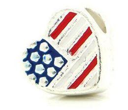 Wholesale Enamelled Heart Charms - Free Shipping! European Charm Beads Heart Silver Tone American Flag Enamel 12x11mm,Hole:Approx 5mm,20PCs (B25773)
