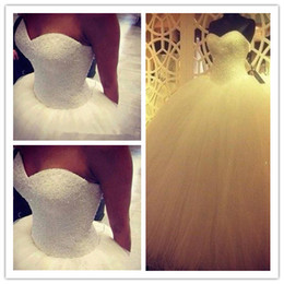 Wholesale Sexy Hot China - 2018 Sweetheart Princess Ball Gown Wedding Dresses Pearls Floor-length Long Hot Sale Tulle Satin Bridal Wedding Gowns China Plus Size