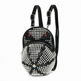 Wholesale Alligator Leather Hat - 2016 Amliya Fashion Rivet Monster Backpacks Handmade Leather Hat Shape Bagpack Punk Style Mochila Diamond Rhinestone Bags