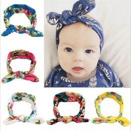 Wholesale Ear Head Wraps - 2016 new Kids Baby Headbands Bohemian Rabbit Ears Hair Accessories Head Wrap Girls Childrens Elastic Bunny Imprint Headband Headwear KHA452