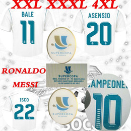настоящая мадридная чашка Скидка 2017 Суперкубок Испании за 16 августа Реал Мадрид дома Асенсио Роналду против Месси Суперкопа Футбол Джерси ISCO Рубашки форменной одежды продаж XXL XXXL 4XL
