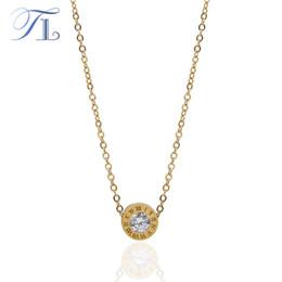 TL Classics Roman Numeral Necklace 316L acero inoxidable GoldRose Color Zircon piedra collares para mujer boda joyería de lujo desde fabricantes