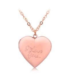 "Wholesale Brass Frame Necklace - ""I love you"" Heart Locket Pendant Necklace Women Men Lovers Vintage Brass Photo Frame Box Choker Neckalces Fashion Love Jewelry"