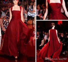 Wholesale Elie Saab Graduation Dresses - 2017 Formal Dresses Evening Wear Square Neck Burgundy Elie Saab Dresses Floor Length Chiffon Evening Gowns with Long Wrap Celebrity Dresses