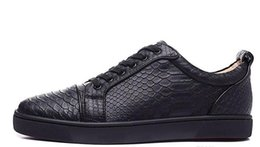 Wholesale Top Sport Shoes Designer Brands - 2017 new wholesale men black fishskin genuine leather low top sneakers,designer brand sports shoes,skateboarding shoes 39-47 drop shipping