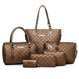 Wholesale Stripe Open Body - Fashion Lattice Style Women Handbag Ladies Leather Messenger Crossbody Bag Shoulder Bag Clutch Tote Bag 5 Color 6 Sets