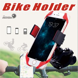 Wholesale Bicycle Phone Holders - Universal Adjustable Bicycle Cell Phone Holder Cradle Stand Motorcycle Mount phone GPS Navigation 360 Degree Rotation With Rubber Strap