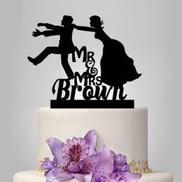 Wholesale Bride Groom Wedding Cake Topper - glitter funny Mr and Mrs wedding cake topper, groom and bride silhouette personalize Name