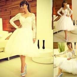 Wholesale Myriam Fares Beach - Myriam Fares Wedding Dresses 2018 Long Sleeves White Lace Ball Gowns Bridal Gowns Knee Length Sweetheart Summer Garden Dress For Brides