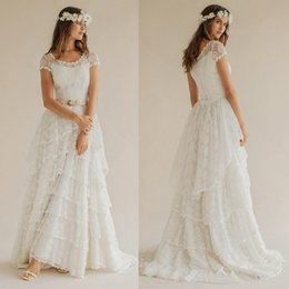 Wholesale china long skirts - Bohemian 2016 Summer Beach Wedding Dresses Boho Lace Scoop Short Sleeve Tiered Long Bridal Gowns Custom Made China EN52512
