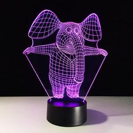 2019 luzes noturnas por atacado de elefantes Pequeno elefante 3D Ilusão de Óptica Lâmpada Luz Noturna DC 5 V USB 5a Bateria Atacado Dropshipping Frete Grátis Caixa de Varejo desconto luzes noturnas por atacado de elefantes