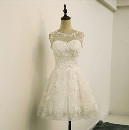 Wholesale cheap informal wedding dresses - Real Lace Short Wedding Dresses Sleeveless White Red Beach Informal Wedding Gowns Cheap Bride Dresses 2017 Bridal Gowns