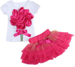 Wholesale Big Satin Skirts - Two-piece Short-sleeve T-shirt + Gauze Skirt Suit Big Handmade Flower Children Set Girls Tulle Dress with Four Colors