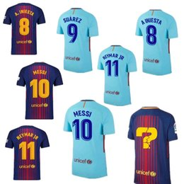 Wholesale White Fans - JS-049- 2017 2018 home away 3rd MESSI INIESTA PIQUE SUAREZ jersey 17 18 Fan version Red Blue Sports shirt