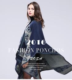 Wholesale Europe Long Ponchos - 2016 Autumn Winter Women Shawls Scarves Brand New Handmade Long Shawl Warm Poncho Scarf Europe Fashion Big Wraps Shawls Gift