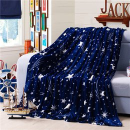 Wholesale Coral Sheets - Winter Bed Sheets coral velvet warm blanket blue star Adult single and double bed blankets fleece sofa TV travel blanket linings