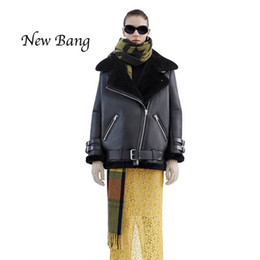 Wholesale Real Leather Motorcycle Jackets - Wholesale-Women Real Rabbit Fur Faux Leather Berber Patchwork Short Suede Shearling Coats Zipper Clothing Vintage Motorcycle Jacket