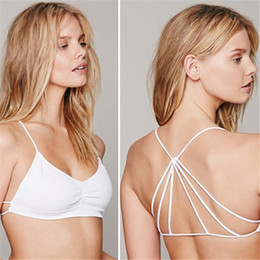 Wholesale Open Bras Up - Wholesale-Sexy Lingerie 2016 Hot Lady Strappy Cage Open Back Push-up Bra Bralette Solid Bandeau Bustier Free Shipping ZT1