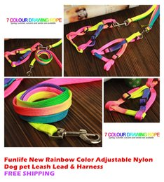 Wholesale Wholesale Funlife - 100 Funlife New Rainbow Color Adjustable Nylon Dog pet Leash Lead & Harness