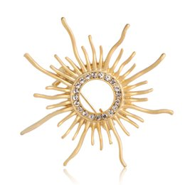 Wholesale Cardigans For Weddings - Brand Crystal Golden Sun Shaped Brooches For Women Femme Scarf Clip Pins Cool Weeding Coat Cardigan Fine Broche Backpack Pendant