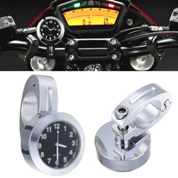 "Wholesale Clock Bike - 7 8""1"" Motorcycle BIke Accessory Handlebar Black Dial Clock Universal Waterproof"