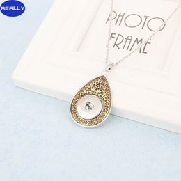 Idea de oro online-REALMENTE oro blanco y cobre antiguo plateado Noosa Tear Drop colgante diseño con 18 MM Snap Button Necklace Idea regalo para las mujeres